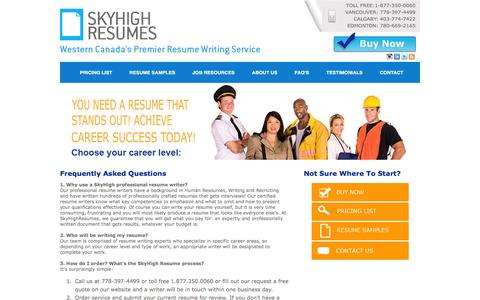 Screenshot of FAQ Page skyhighresumes.com - Resume Services Canada - Interview Coaching - captured Dec. 9, 2015