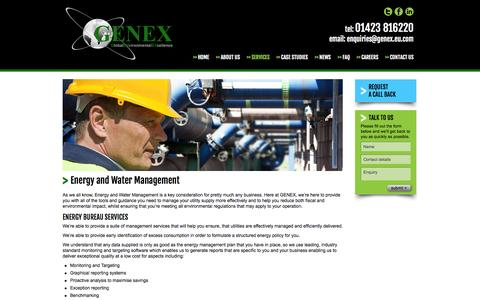 Screenshot of Services Page genex.eu.com - Energy and Water Management | Legionella Risk Assessment | Genex - captured Oct. 2, 2014