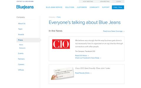Screenshot of Press Page bluejeans.com - Press | Blue Jeans - captured July 20, 2014