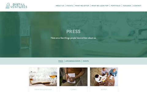 Screenshot of Press Page distillventures.com - Press Archive - Distill Ventures - captured June 4, 2017