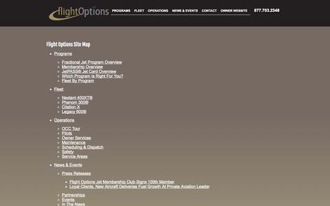 Screenshot of Site Map Page flightoptions.com - SiteMap - captured Sept. 23, 2014