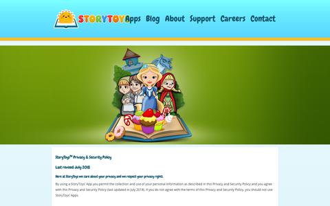 Screenshot of Privacy Page storytoys.com - StoryToys™ Apps Privacy & Security Policy - captured Oct. 13, 2018
