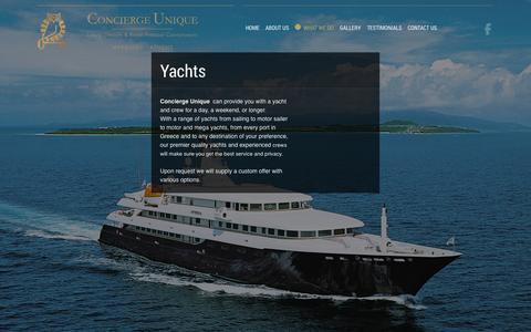 Screenshot of Services Page conciergeunique.com - Yachts | Concierge Unique | Mykonos Island, Greece - captured Sept. 30, 2014