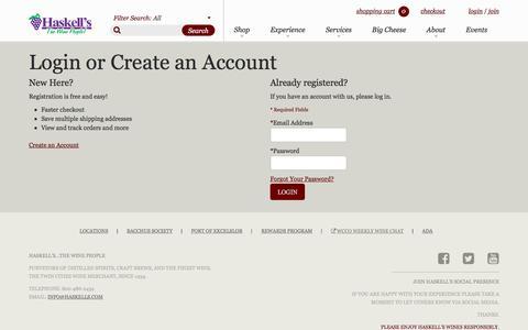 Screenshot of Login Page haskells.com - Customer Login | Haskell's - captured May 15, 2017