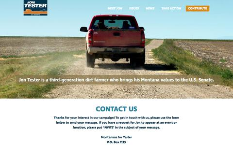 Screenshot of Contact Page jontester.com - Contact Us - captured July 2, 2018