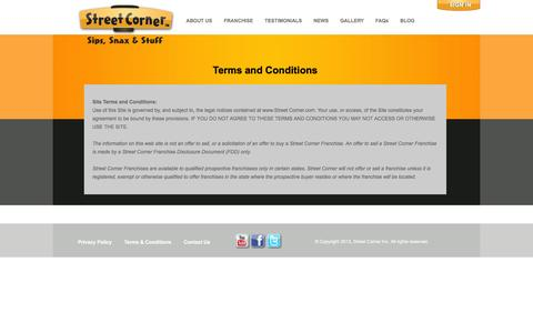 Screenshot of Terms Page streetcorner.com - Terms and Conditions | Street Corner Franchise ™ - captured Feb. 25, 2016