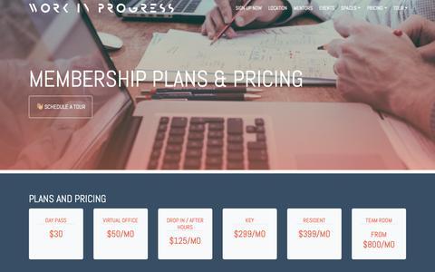 Screenshot of Pricing Page workinprogress.lv - Coworking Pricing and Plans · Work in Progress - captured Oct. 9, 2018