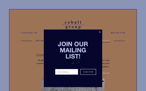 Screenshot of Contact Page cobaltgroupinc.com - Contact — COBALT GROUP, INC. - captured July 19, 2018