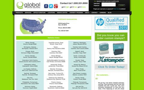 Screenshot of Locations Page globalofficesolutions.com - Global Office Solutions - captured Dec. 10, 2015