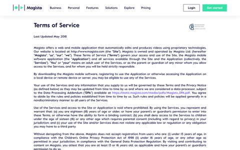 Screenshot of Terms Page magisto.com - Magisto | Terms of Service - captured Sept. 19, 2018
