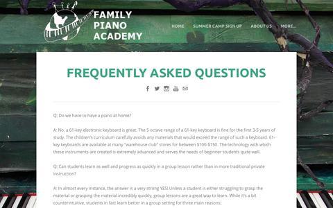 Screenshot of FAQ Page familypianoacademy.com - FAQ - Family Piano Academy - captured Aug. 3, 2016