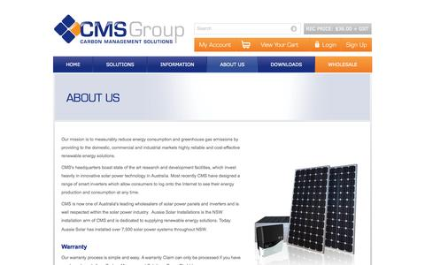 Screenshot of About Page carbonmanagement.com.au - CMS Solar Power Products | Panels | Inverters | Installation Kits | Framing | 1300 BUY CMS - captured Oct. 22, 2014