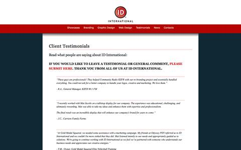 Screenshot of Testimonials Page identity-international.com - ID International - Client Testimonials - captured Oct. 3, 2014