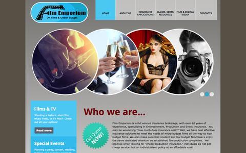 Screenshot of Home Page filmemporium.com - Film Emporium  Entertainment production insurance for film, movie, & special events - captured Oct. 5, 2014