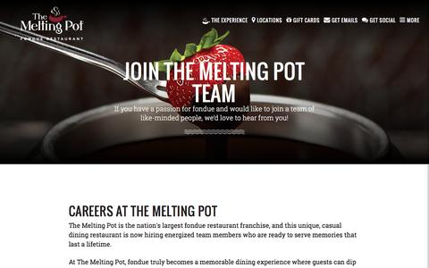 Screenshot of Jobs Page meltingpot.com - Food and Beverage Careers at The Melting Pot - captured Aug. 22, 2016