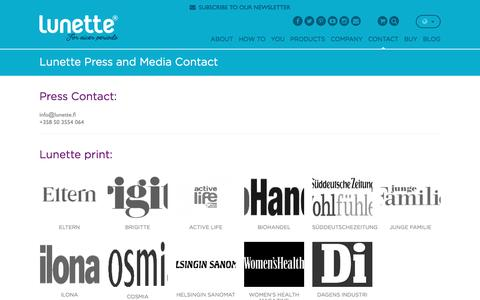 Screenshot of Press Page lunette.com - Lunette Press and Media Contact - Lunette - captured Feb. 2, 2016
