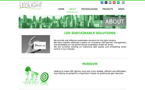 Screenshot of About Page sustainableledlight.com - Suistainable LED light - captured Jan. 12, 2016