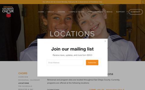 Screenshot of Locations Page sdcchoir.org - Locations — San Diego Children's Choir - captured Feb. 16, 2019