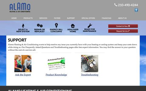 Screenshot of Support Page alamoheatingandair.com - Frequently Asked Questions - Alamo Heating & Air Conditioning, San Antonio, TX  78247 -  Day & Night - captured July 31, 2017