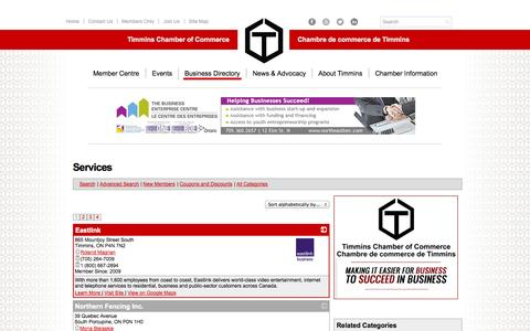 Screenshot of Services Page timminschamber.on.ca - Services | Timmins Chamber of Commerce | Timmins, ON - captured Oct. 7, 2014