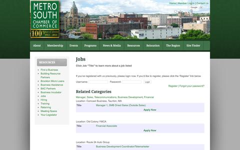 Screenshot of Jobs Page metrosouthchamber.com - Jobs - captured Oct. 27, 2014