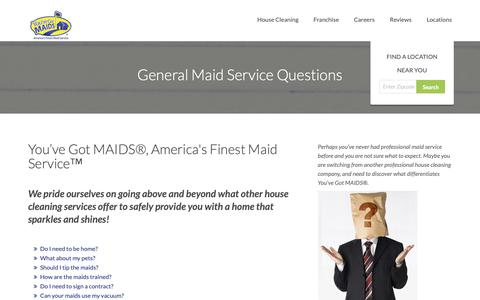 Screenshot of FAQ Page youvegotmaids.com - General Maid Services | FAQ | Frequently Asked Questions - captured Oct. 19, 2018