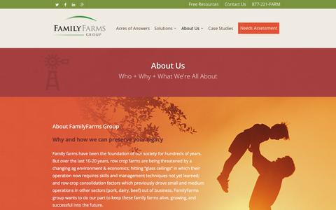 Screenshot of About Page familyfarmsgroup.com - About FamilyFarms Group - Why, What, Who and How - captured Jan. 8, 2016