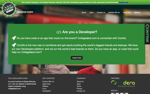 Screenshot of Developers Page collegelabor.com - Welcome to collegelabor.com - captured Dec. 6, 2016