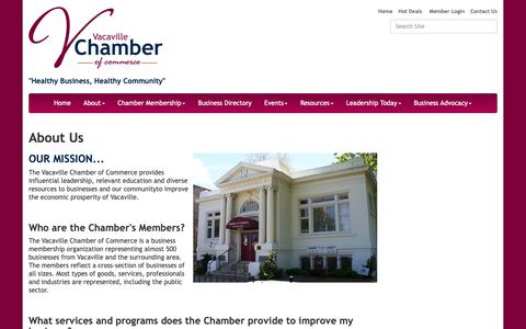 Screenshot of About Page vacavillechamber.com - About Us - Vacaville Chamber of Commerce, CA - captured Oct. 18, 2018