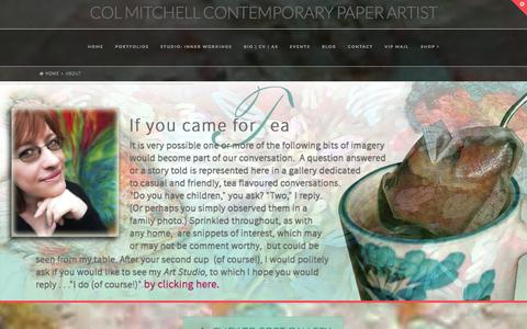 Screenshot of About Page colmitchell.com - About | Composing works of pen & ink on sculpted paper that reveal the magical side of the Wild, some charged with energy, others tranquil like the deep mysteries of Nature herself. - captured Sept. 30, 2014