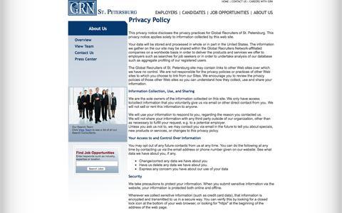 Screenshot of Privacy Page grnstpetersburg.com - GRN - Global Recruiters of St. Petersburg - captured Nov. 7, 2016