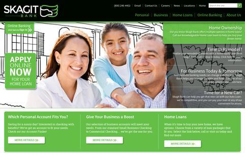 Screenshot of Home Page skagitbank.com - Skagit Bank - Genuine Lasting Relationships - captured Sept. 30, 2014