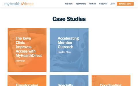 Screenshot of Case Studies Page myhealthdirect.com - Case Studies – My Health Direct - captured Dec. 5, 2018