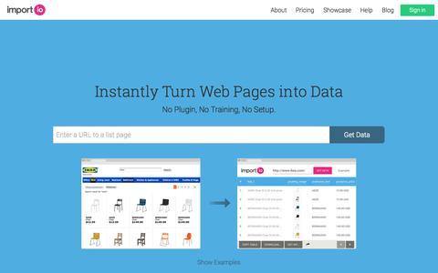 Screenshot of Home Page import.io - import.io   Web Data Platform & Free Web Scraping Tool - captured Jan. 15, 2015