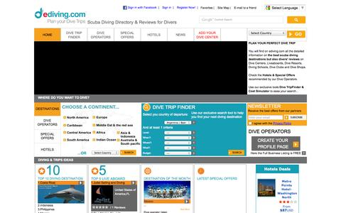 Screenshot of Home Page ediving.com - Ediving – Scuba Diving Directory & Reviews for Divers - captured Oct. 3, 2014
