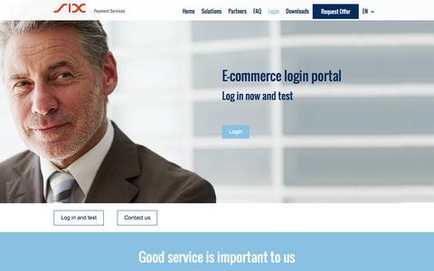Screenshot of Login Page six-payment-services.com - E-Commerce login Portal – SIX - captured Dec. 23, 2016