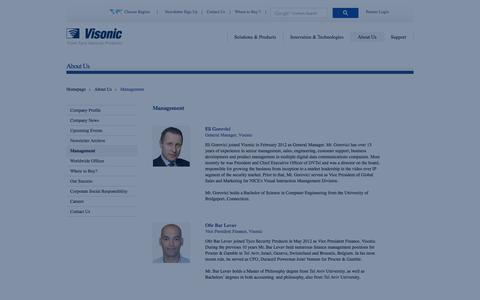 Screenshot of Team Page visonic.com - Management  | About Us | Visonic Wireless Security - captured Oct. 26, 2014