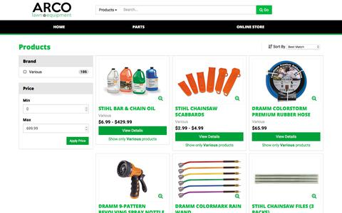 Screenshot of Products Page arcolawn.com - Products - captured Oct. 9, 2017