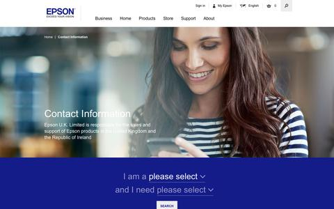 Screenshot of Contact Page epson.co.uk - Contact Information - Epson - captured Aug. 27, 2016