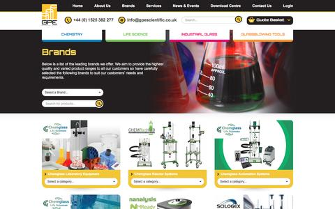 Screenshot of Products Page gpescientific.co.uk - Our Brands | GPE Scientific - captured Jan. 24, 2016
