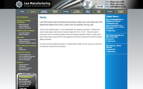 Screenshot of Press Page lea.co.uk - Media - Barrel Polishing and Finishing - LEA Manufacturing - captured Oct. 1, 2014