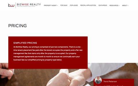 Screenshot of Pricing Page bizwiserealty.com - Pricing - BizWise Realty - captured Aug. 2, 2018