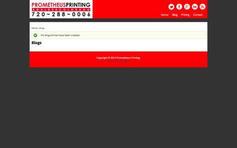 Screenshot of Blog prometheusprinting.com - Blogs | Prometheus Printing - captured Oct. 3, 2014