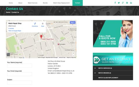 Screenshot of Contact Page watchrepairshop.co.uk - Watch Repairs contact page - captured Oct. 7, 2014