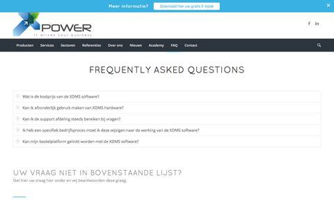 Screenshot of FAQ Page xpower.be - Veelgestelde vragen - Xpower - IT drives your business - captured Nov. 19, 2016