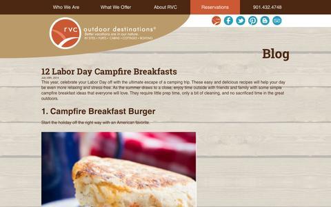 Screenshot of Blog rvcoutdoors.com - RVC Outdoor Destination Blog - Outdoor Vacations - captured Sept. 19, 2014