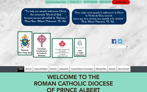 Screenshot of Home Page padiocese.ca - Home | Roman Catholic Diocese of Prince Albert - captured Oct. 28, 2018