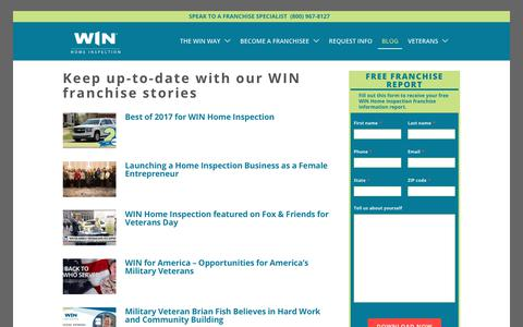 Screenshot of Blog winfranchising.com - WIN Franchise Stories | WIN Home Inspection Blog - captured Feb. 15, 2018