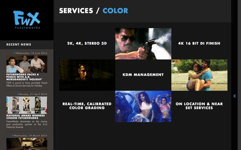 Screenshot of Services Page futureworks.in - Color - FutureWorks - captured Oct. 6, 2014