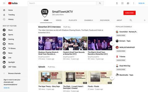 Screenshot of Press Page youtube.com - SmallTownUKTV - YouTube - captured Oct. 21, 2018